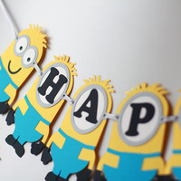 Minion inspired Birthday Banner, Despicable Me Banner, Minion Birthday Banner, Minion Birthday Party Ideas, Despicable Me Birthday Party