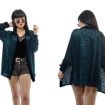 vintage 90s teal velvet burnout top soft grunge sheer floral blouse soft grunge green duster jacket small
