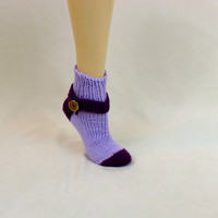 Purple Thick Socks - Lavender Tube Sock - House Slippers - House Sock - Decorative Knit Strap