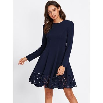 Scallop Laser Cut Hem Fit & Flare Dress Navy
