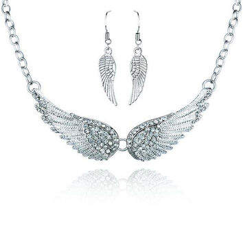 Wings of an Angel Necklace Earrings Set