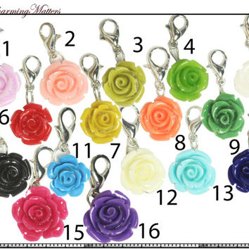 Gorgeous Rose Flower Dangles for window lockets like Origami Owl mother's day mom living floating charms pendant carnation
