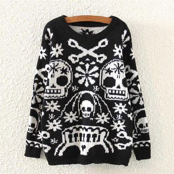 ONETOW Day-First? Womens Skull Pattern Knitted Sweater