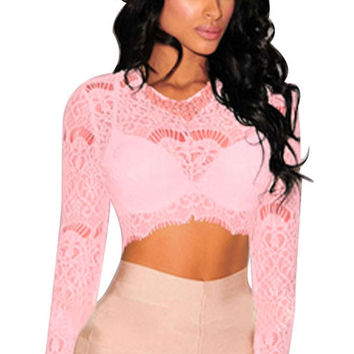 Pink Sheer Lace Long Sleeves Crop Top