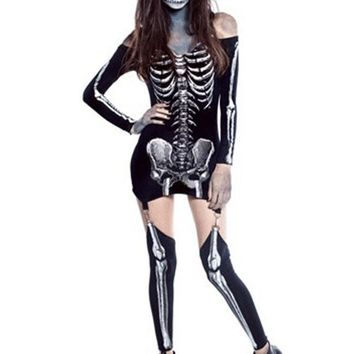 Black Skull Print Off Shoulder Skeleton Bodycon Hallowmas Party Mini Dress