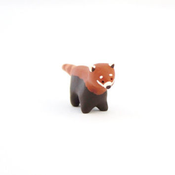 red panda miniature polymer clay animal figurine red panda totem