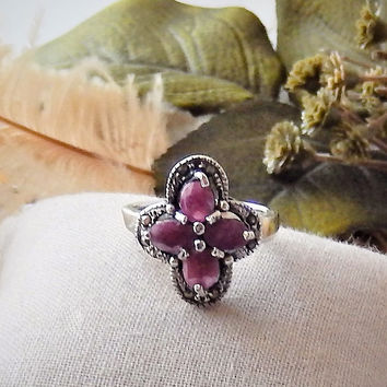 Vintage Sterling Silver Marcasite Gemstone Ruby Floral Art Deco Style Ring Size 6.75