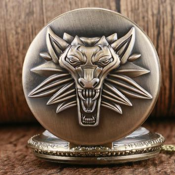 Bronze Classic Game The Witcher 3 Wild Hunt Quartz Pocket Watch Retro Pendant Men Women Elegant Gift