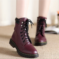 Womens Genuines Leather Short Flat Ankle Boots Martin Boots Warm Furry Shoes = 1704265988