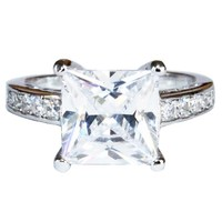 Princess Cut Diamond Promise Ring Front - Beautiful Promise Rings