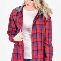 Lumberjack Hooded Plaid Flannel {Red Mix}