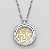 "Floating Monogram ""H"" Necklace Silver"