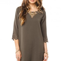Cecily Shift Dress in Olive - ShopSosie.com