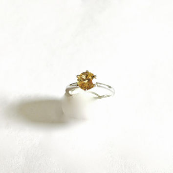 Vintage Prong Set Natural Yellow/Gold Citrine Solitaire Gemstone  in Sterling Silver Setting, November Birthstone, Approximate Size 8