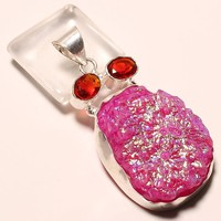 Titanium Pink Druzy,Red Garnet Silver Plated Pendant 2.19""