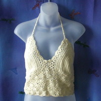 Large to medium cream cotton crochet halter top with adjustable lace-up back