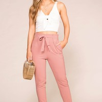 Alice Mauve High Waisted Paperbag Pants