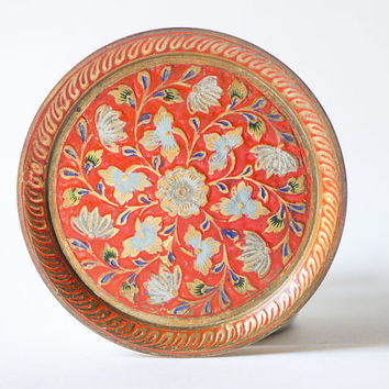 Vintage Brass Painted Plate Floral India Handmade Ornate Brass Plate Engraved Boho Decor Red Gold Shades Small Plate Jewelry Dish Metalware