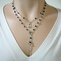 Delicate Understated Denim Blue Sodalite Dangling Two Strand Rosary Style Charm Necklace Minimalist Jewelry