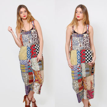 Vintage 90s PATCHWORK Overalls Hippie Capri Jumper ETHNIC Festival Overalls Relaxed Fit Cropped Overalls