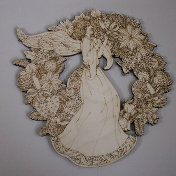Large Angel Wreath Cutout, Laser Cutouts, Unfinished Wood, Home Decor, Wall Art, Wood Shapes, Wreath Accent, Woodcraft, Ready to Paint Art