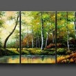 Forest River Landscape 100% Hand Painted Modern Oil Painting on Canvas Wall Art Home Decoration 3 Piece Canvas Art Unframe and Unstretch