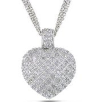 1 Carat T.W. Diamond Sterling Silver Heart Pendant with 3-Strand Chain, 18""