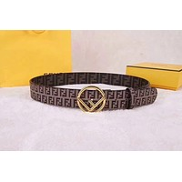 Fendi Men Woman Fashion Smooth Buckle Leather Belt