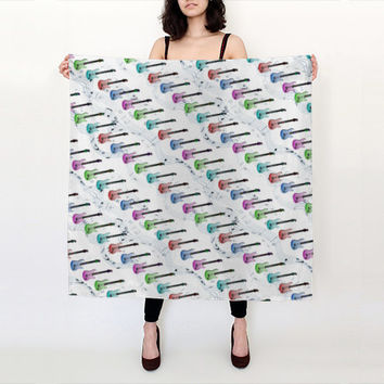 "Rock N Roll, Square Scarf (36"" x 36""), Handmade withChoice of Fabric, linen scarf, nursing scarf, head scarf, silk scarf,"