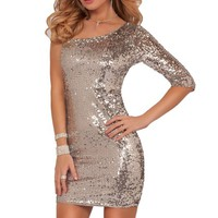 Hot from Hollywood Women's Sequin One Strap Knee High Party Dress