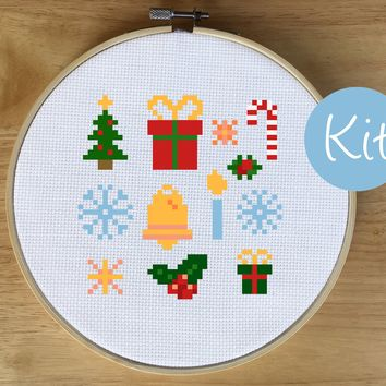Modern Christmas Sampler Cross Stitch Kit