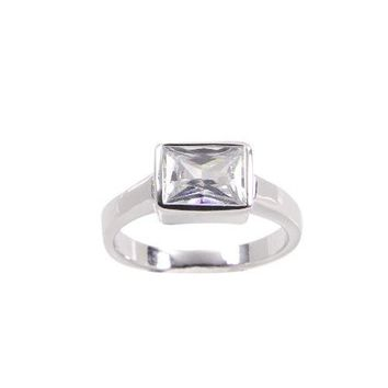 Sterling Silver Solitaire Ring in Special Emerald Cut Clear Cubic Zirconia Stone Set Sideways and Finished in Rhodium Plate