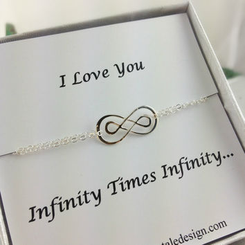 Infinity Bracelet, Double Infinity, Sterling Silver Infinity Bracelet, Best Friend Gift, Sister Gift, Mother Gift, Mothers Day Gift, Unique