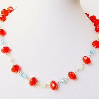 Orange Green Necklace,  Aquamarine Crystal Silver  Necklace, Orange Tangerine Beaded Necklace
