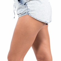 Stretch Denim Track Shorts with Pockets