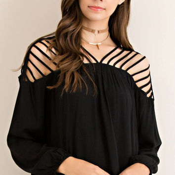 Boho Dreams Black Cutout Top