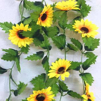 240cm Fake Silk Sunflower Ivy Vine Artificial Flowers With Green Leaves Hanging Garland Garden Fences Home Wedding Decoration