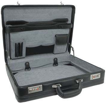 Alpine Swiss Expandable Leather Attache Briefcase Dual Combination Locks 1 Year Warranty Black One Size '