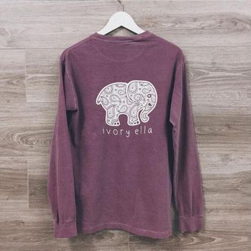 CUPUPX4 Fashion elephant pattern long-sleeved T-shirt
