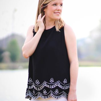 ATHENS Black Sleeveless Embroidered Top