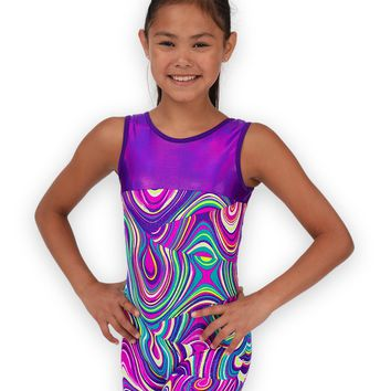 Leap Gear Purple Twister Gymnastics Biketard