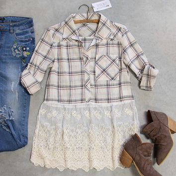 Plaid + Lace Top