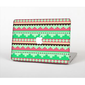 The Lime Green & Coral Tribal Ethic Geometric Pattern Skin Set for the Apple MacBook Air 13""