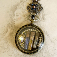 Vintage watch shadow box Glitter pendant necklace pocket watch rhinestones pendant jewelry necklace