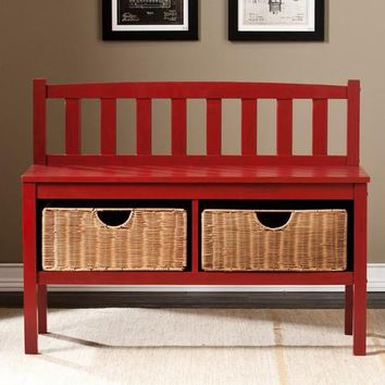 Bench With Storage Baskets - Red