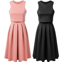 Round Neck Sleeveless Pleated A-line Dress