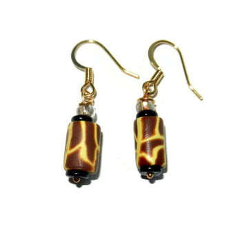 Yellow and Brown Giraffe Print Dangle Earring, Polymer Clay Earrings