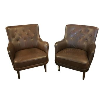 Pre-owned Brown Tufted Vintage Club Chairs - A Pair
