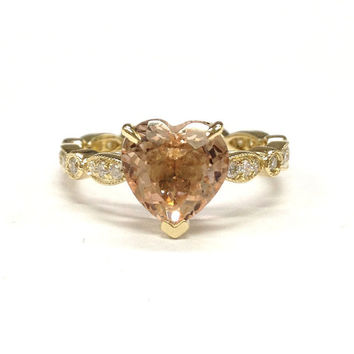 Morganite Engagement Ring 14K Yellow Gold!Diamond Wedding Bridal Ring,Art Deco Antique,8mm Heart Shaped Cut Pink Morganite,Can matching band