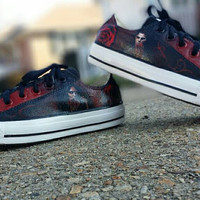 Vampire Diaries Hand Painted lace up canvas shoes